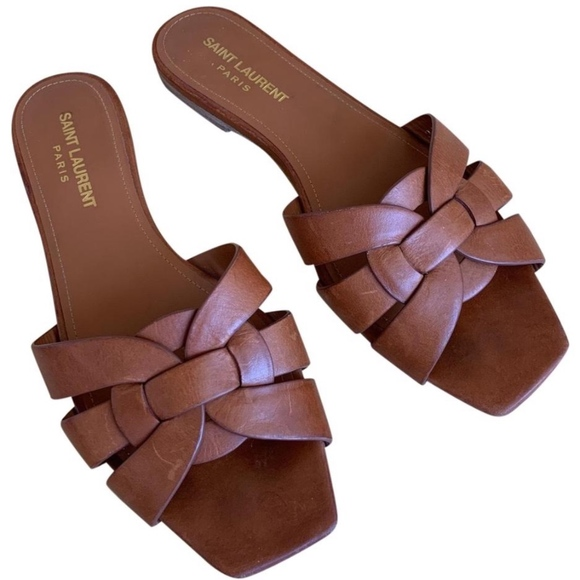 Ysl Tribute Flat Sandal Slide Tan
